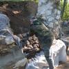 Einmotten zum Schutz des Portalbereichs vor Frost und weiterer Erosion.