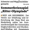 Sommerferienspiel Ritter Olympiade, Bezirksblatt, August 2012