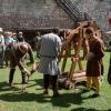 Demonstration des Trebuchet (verkleinerter Nachbau)