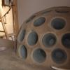 Der Becherkachelofen in der Stube des Blockhauses (von der Küche aus beheizt)